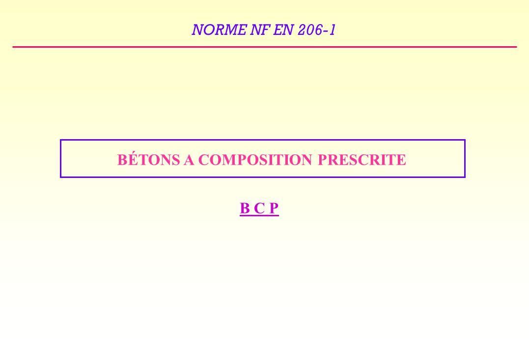 BÉTONS A COMPOSITION PRESCRITE