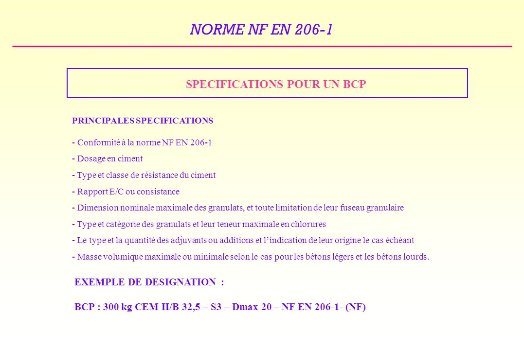 SPECIFICATIONS POUR UN BCP