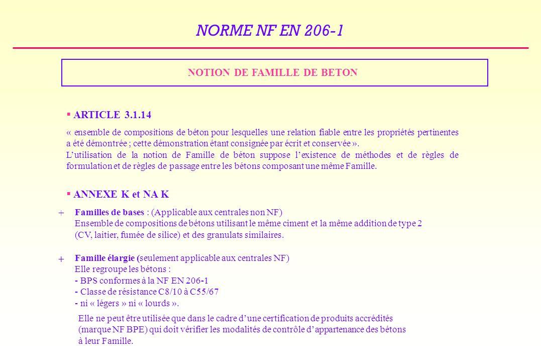 NOTION DE FAMILLE DE BETON