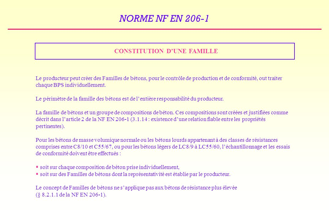 CONSTITUTION D'UNE FAMILLE