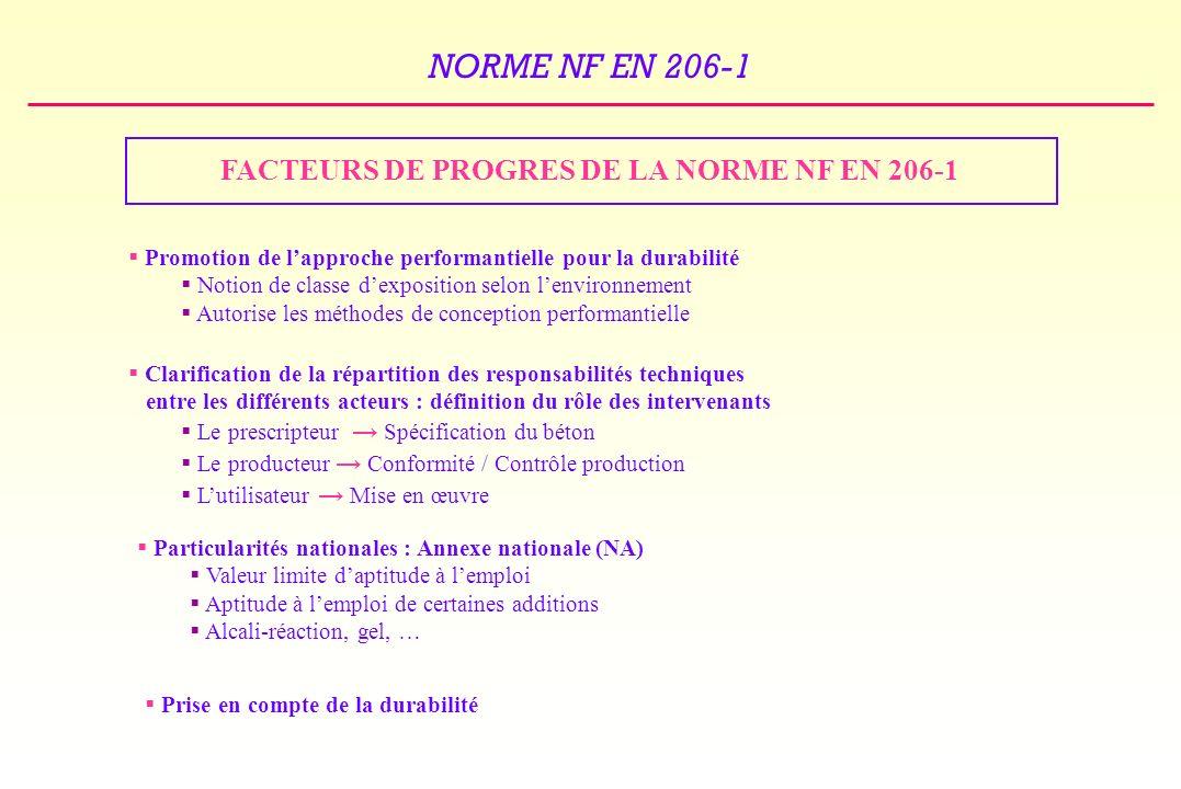 FACTEURS DE PROGRES DE LA NORME NF EN 206-1