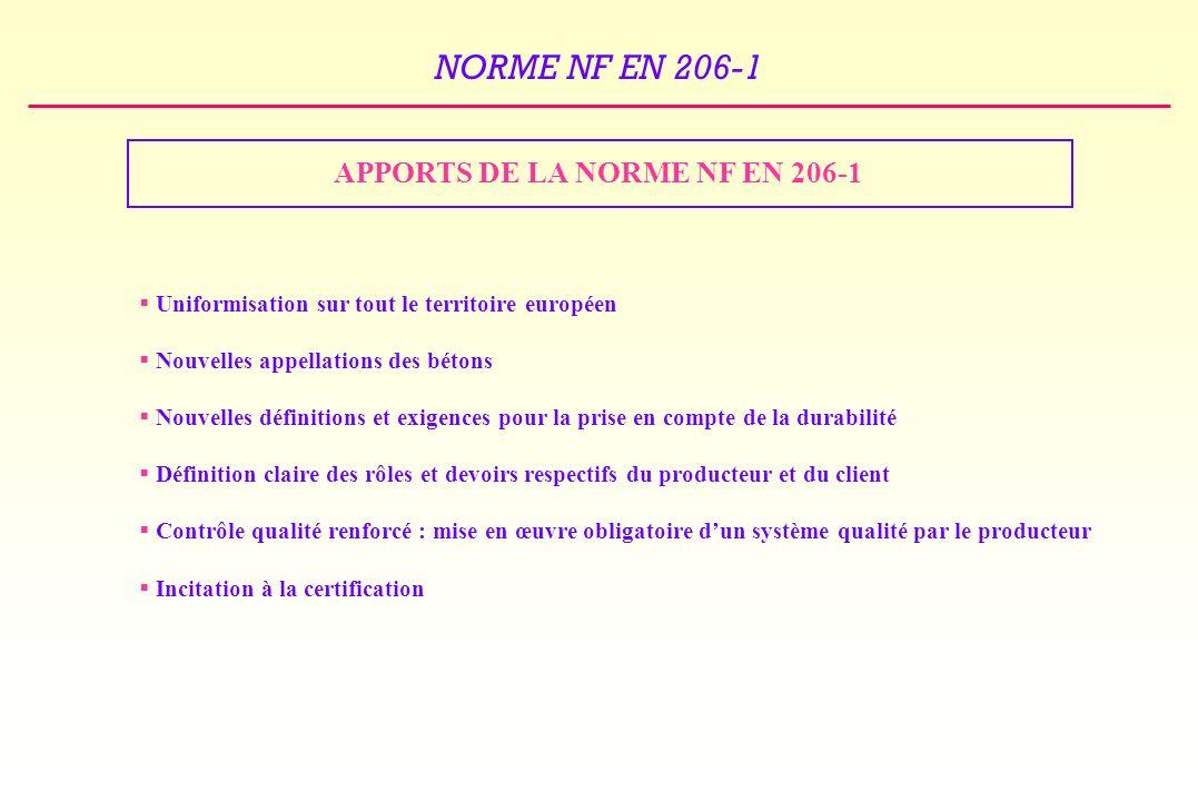 APPORTS DE LA NORME NF EN 206-1