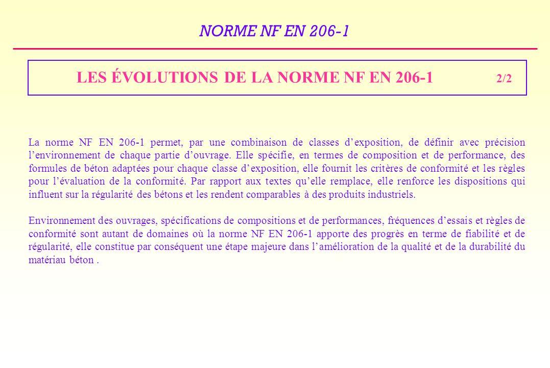 LES ÉVOLUTIONS DE LA NORME NF EN 206-1