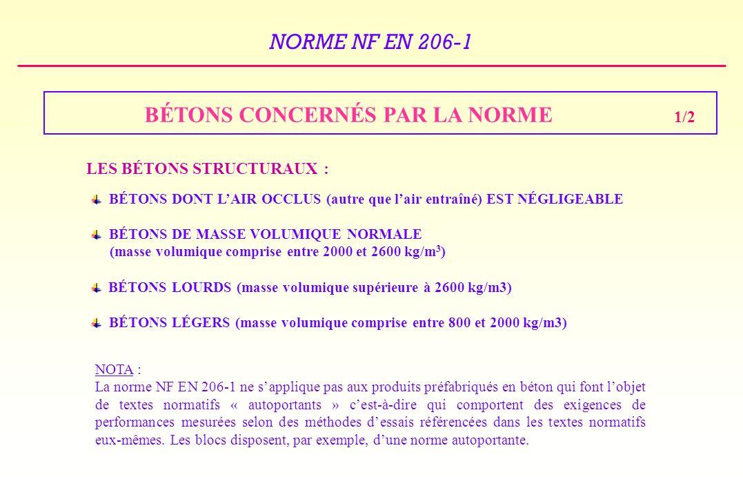 BÉTONS CONCERNÉS PAR LA NORME 1/2