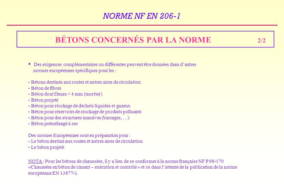 BÉTONS CONCERNÉS PAR LA NORME 2/2