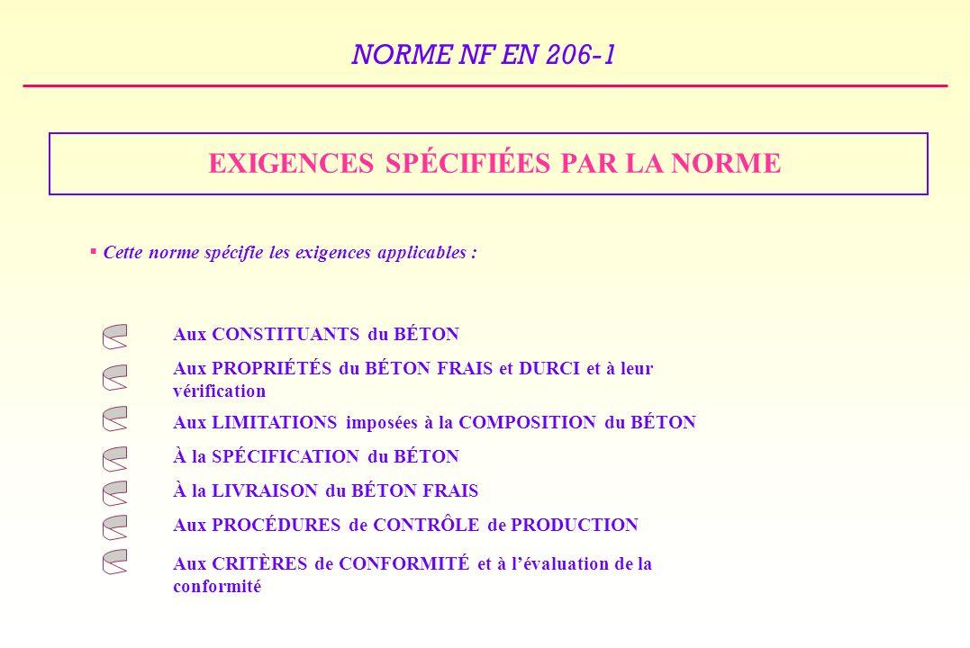 EXIGENCES SPÉCIFIÉES PAR LA NORME