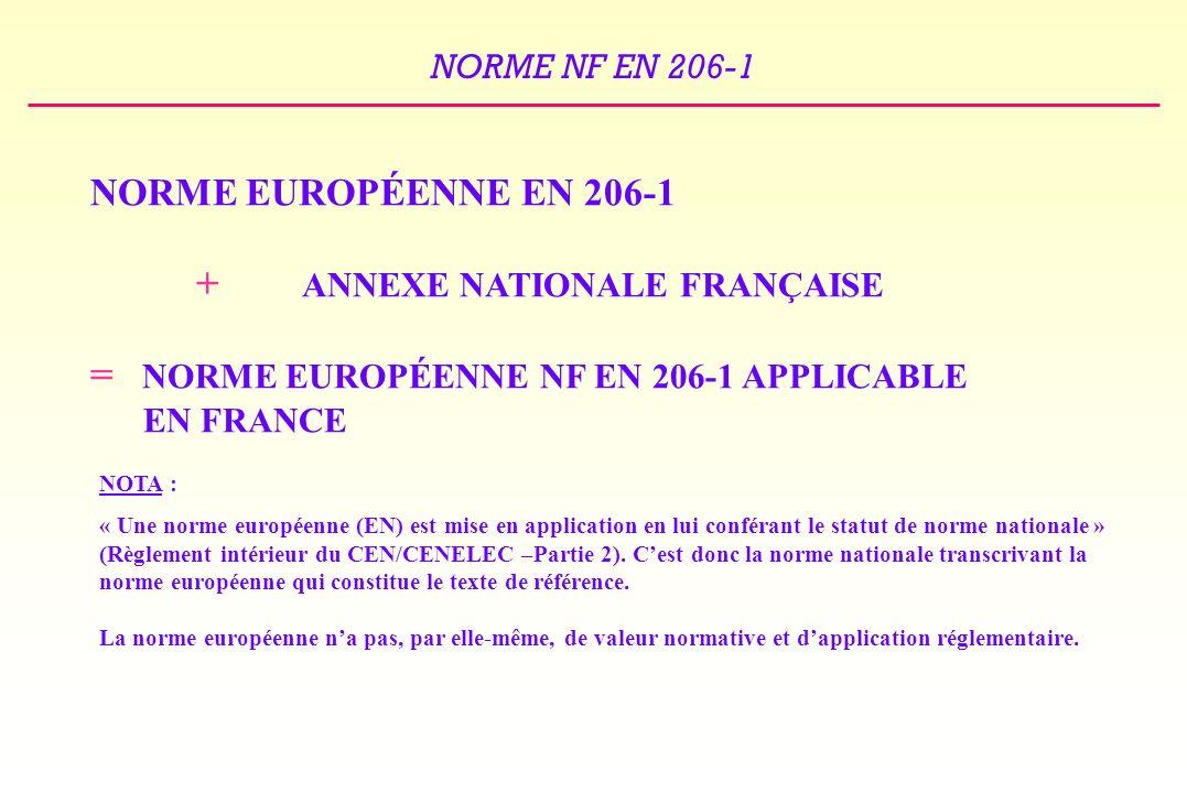 = NORME EUROPÉENNE NF EN 206-1 APPLICABLE EN FRANCE