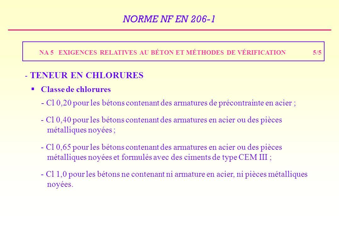 NA 5 EXIGENCES RELATIVES AU BÉTON ET MÉTHODES DE VÉRIFICATION