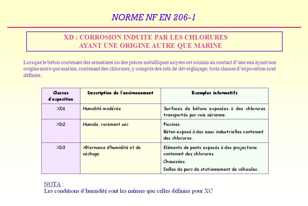 XD : CORROSION INDUITE PAR LES CHLORURES