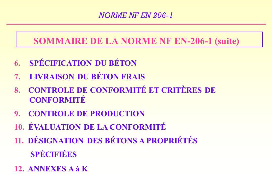 SOMMAIRE DE LA NORME NF EN-206-1 (suite)