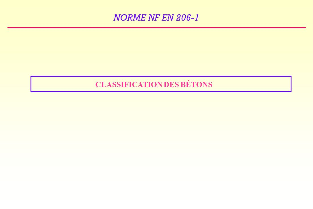 CLASSIFICATION DES BÉTONS