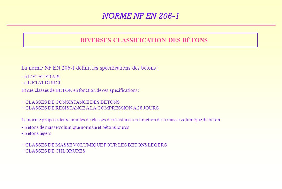 DIVERSES CLASSIFICATION DES BÉTONS