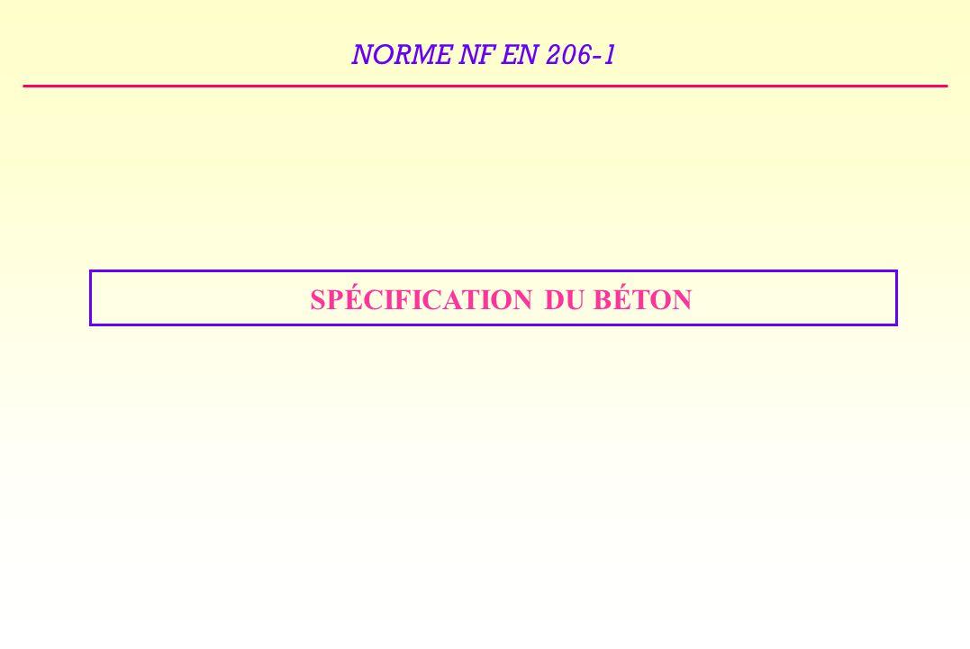 SPÉCIFICATION DU BÉTON