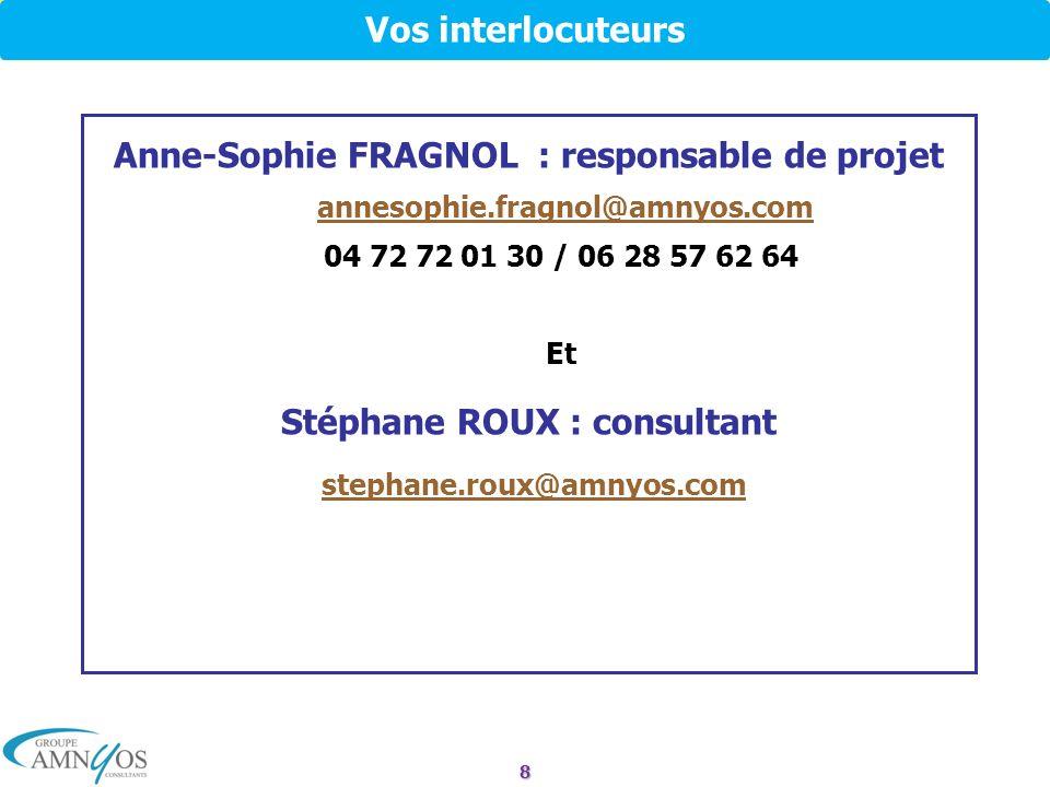 Anne-Sophie FRAGNOL : responsable de projet Stéphane ROUX : consultant