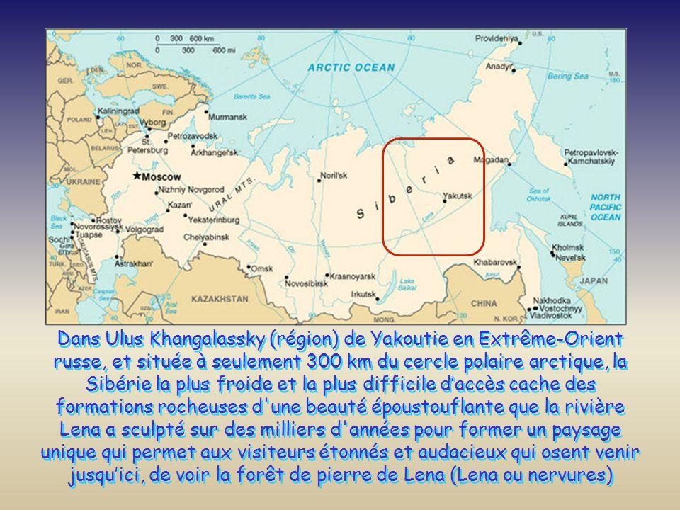 Dans Ulus Khangalassky (région) de Yakoutie en Extrême-Orient russe, et située à seulement 300 km du cercle polaire arctique, la Sibérie la plus froide et la plus difficile d'accès cache des formations rocheuses d une beauté époustouflante que la rivière Lena a sculpté sur des milliers d années pour former un paysage unique qui permet aux visiteurs étonnés et audacieux qui osent venir jusqu'ici, de voir la forêt de pierre de Lena (Lena ou nervures)
