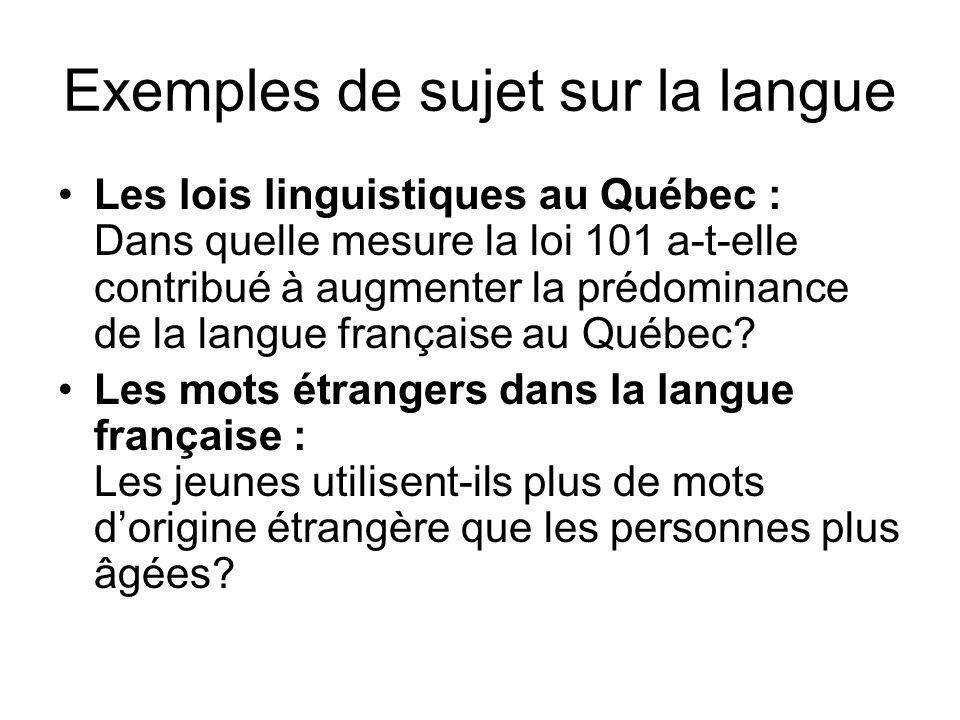 Exemples de sujet sur la langue