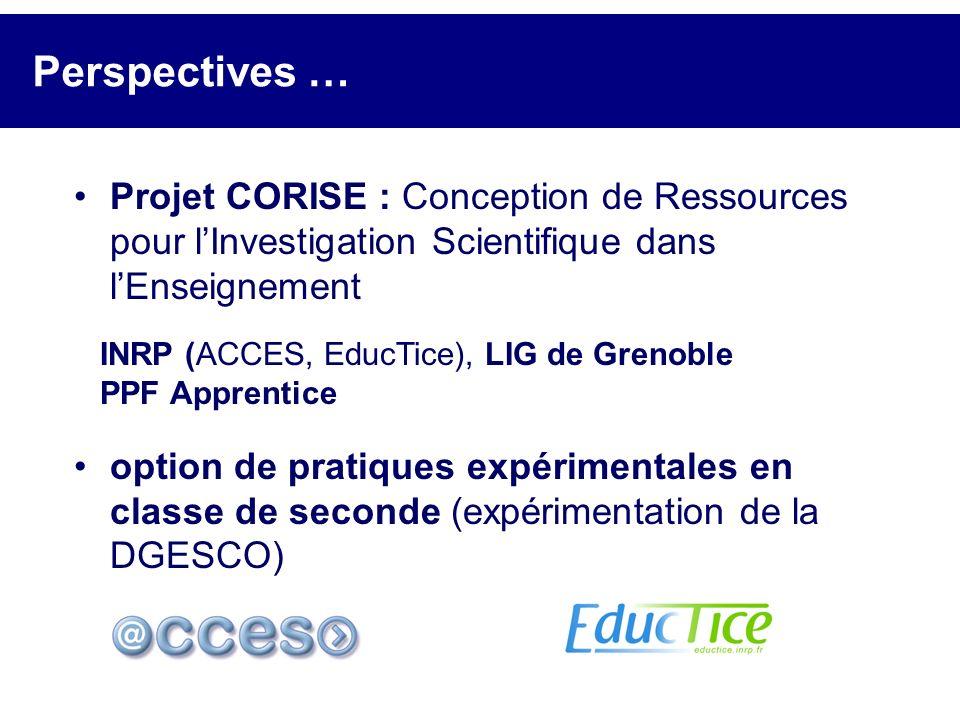 Perspectives … Projet CORISE : Conception de Ressources pour l'Investigation Scientifique dans l'Enseignement.