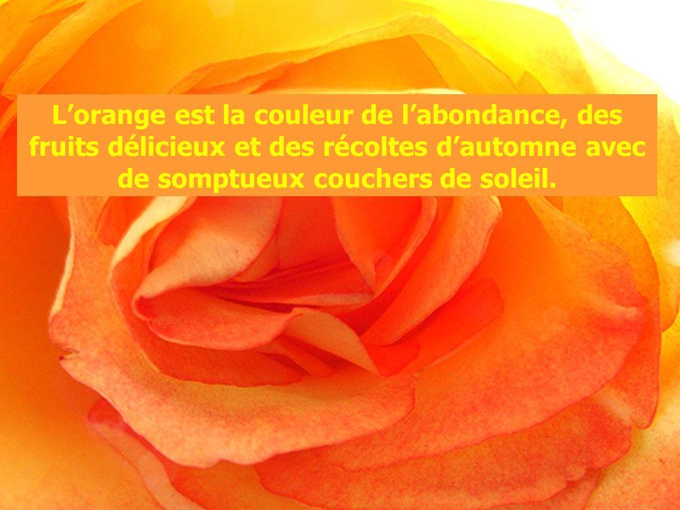 L'orange est la couleur de l'abondance, des fruits délicieux et des récoltes d'automne avec de somptueux couchers de soleil.