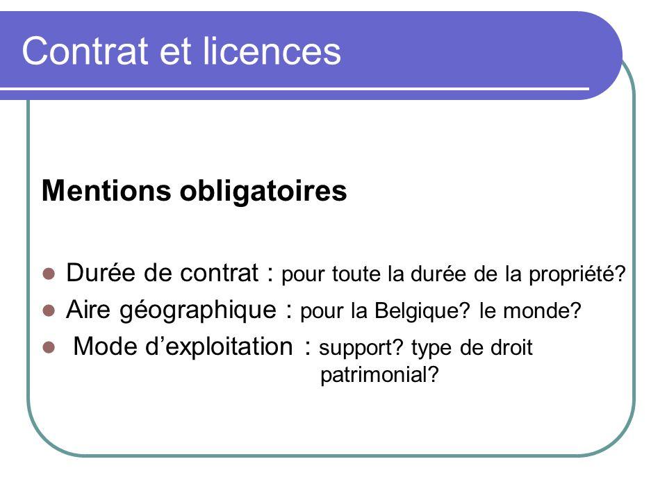 Contrat et licences Mentions obligatoires