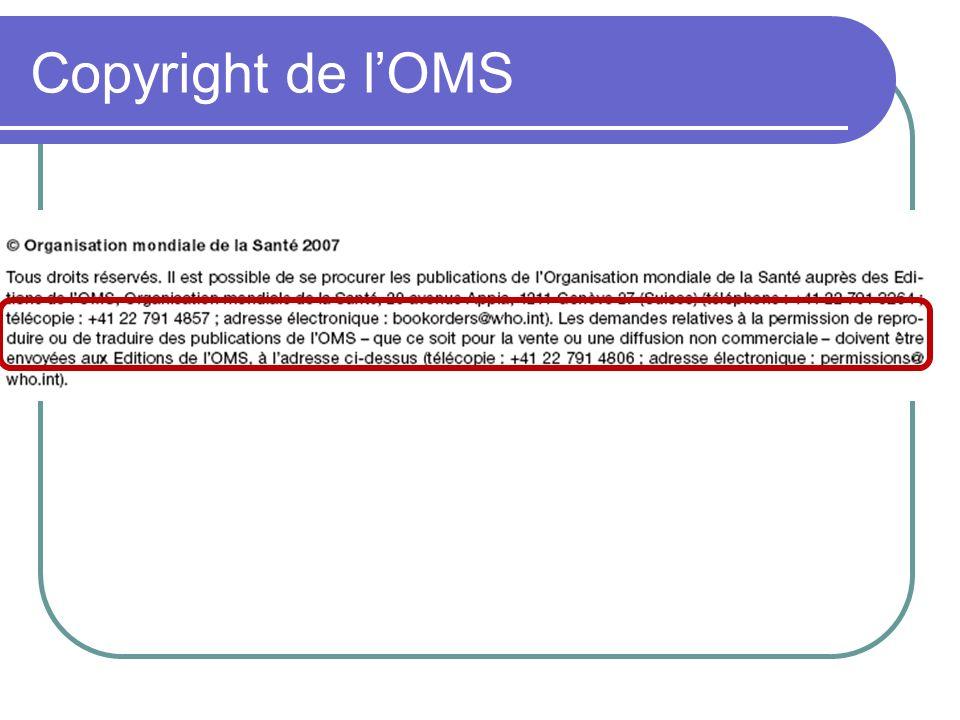 Copyright de l'OMS