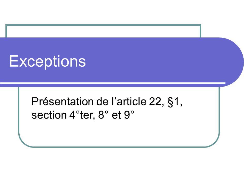 Exceptions Présentation de l'article 22, §1, section 4°ter, 8° et 9°