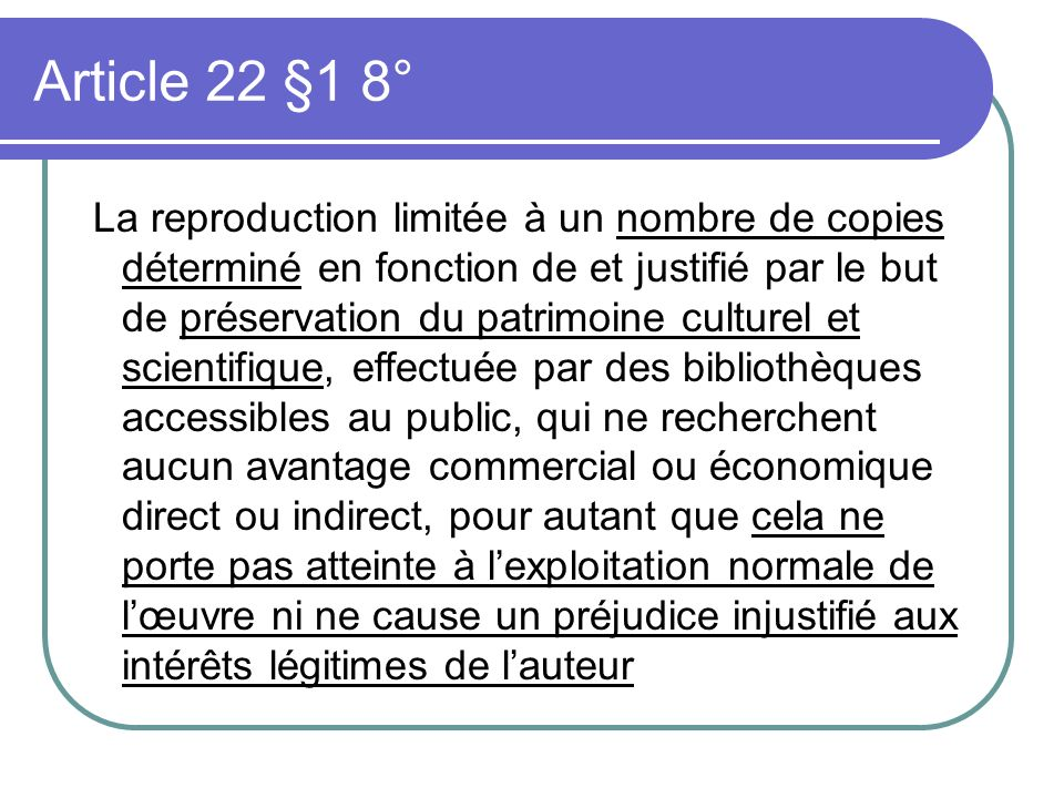 Article 22 §1 8°