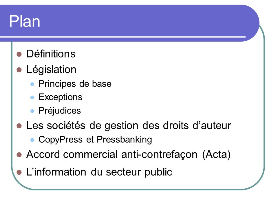 Plan Définitions Législation
