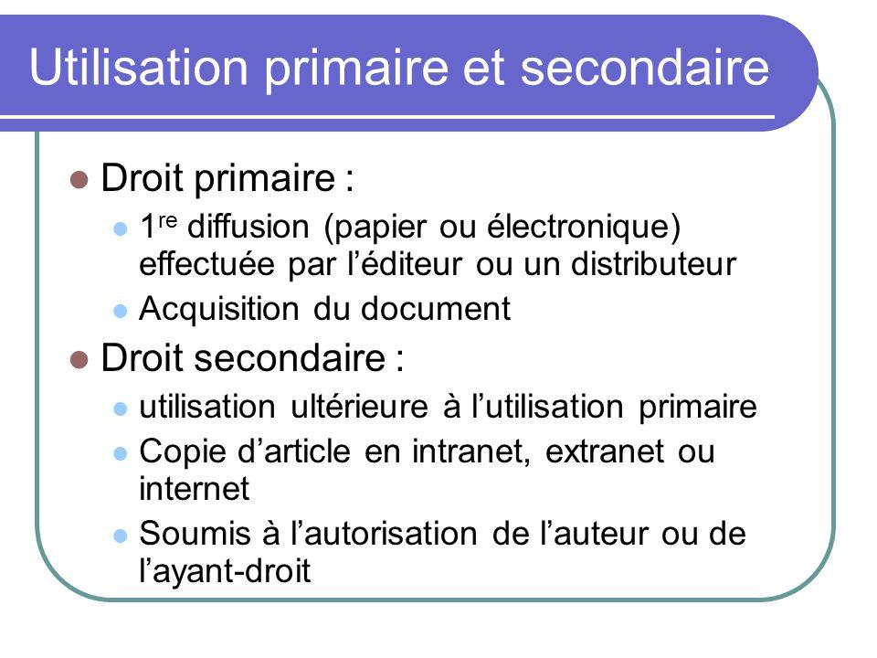Utilisation primaire et secondaire