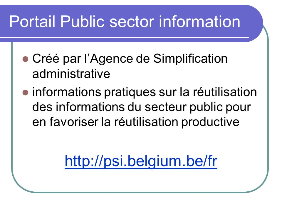 Portail Public sector information