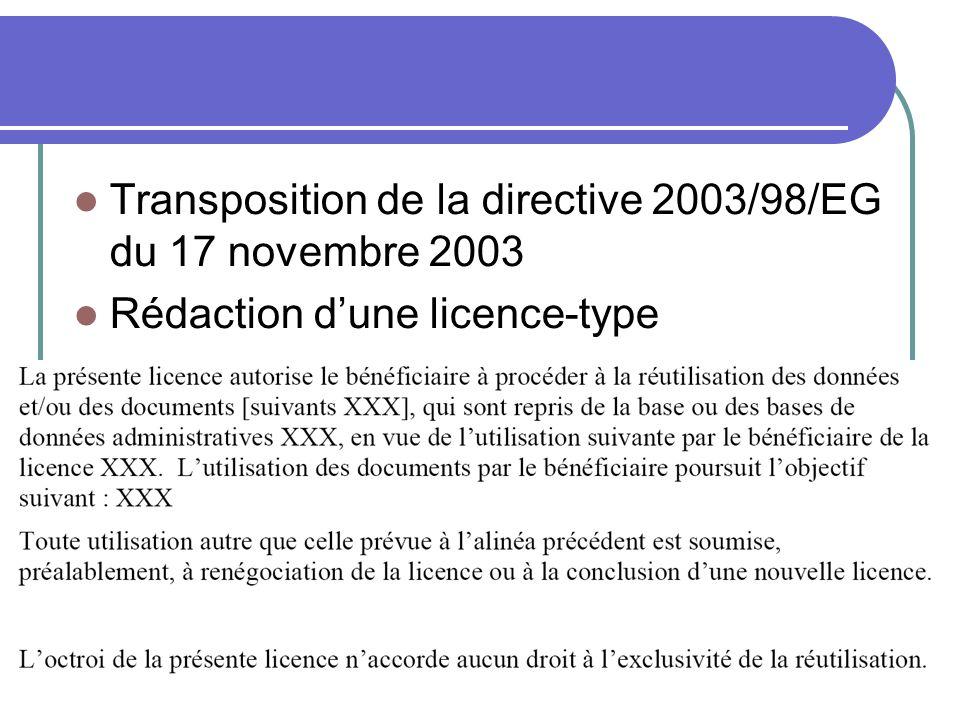 Transposition de la directive 2003/98/EG du 17 novembre 2003