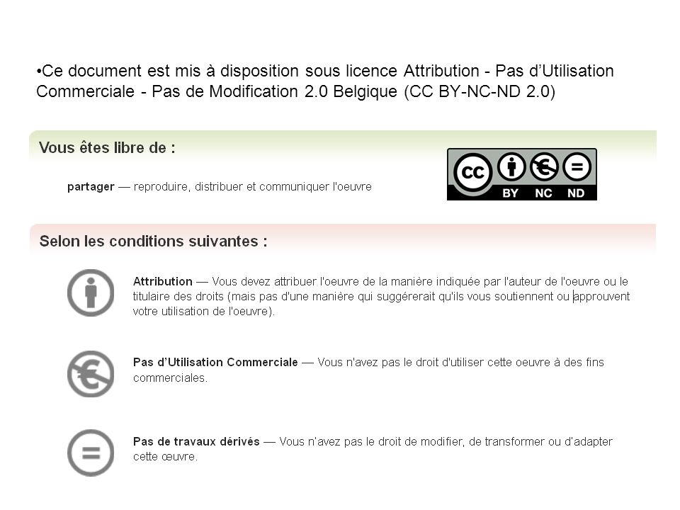 Ce document est mis à disposition sous licence Attribution - Pas d'Utilisation Commerciale - Pas de Modification 2.0 Belgique (CC BY-NC-ND 2.0)