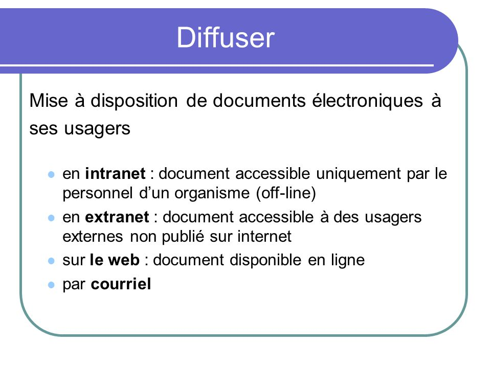 Diffuser Mise à disposition de documents électroniques à ses usagers
