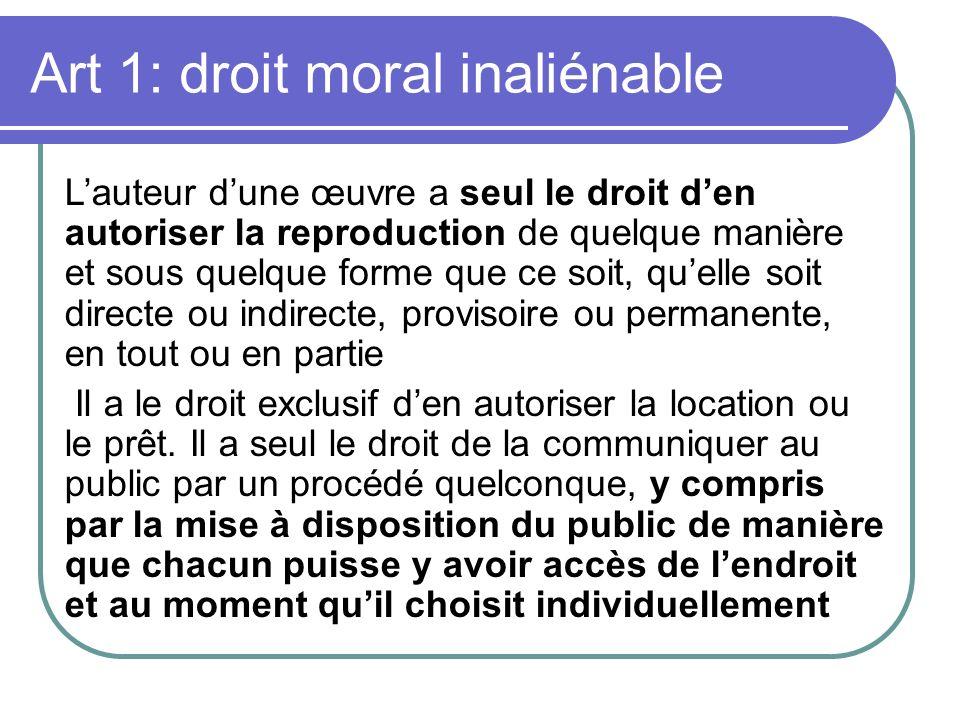 Art 1: droit moral inaliénable
