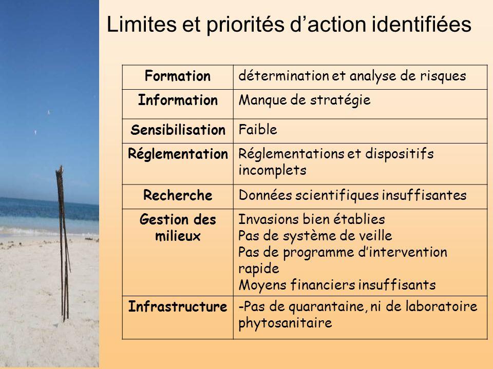 Limites et priorités d'action identifiées