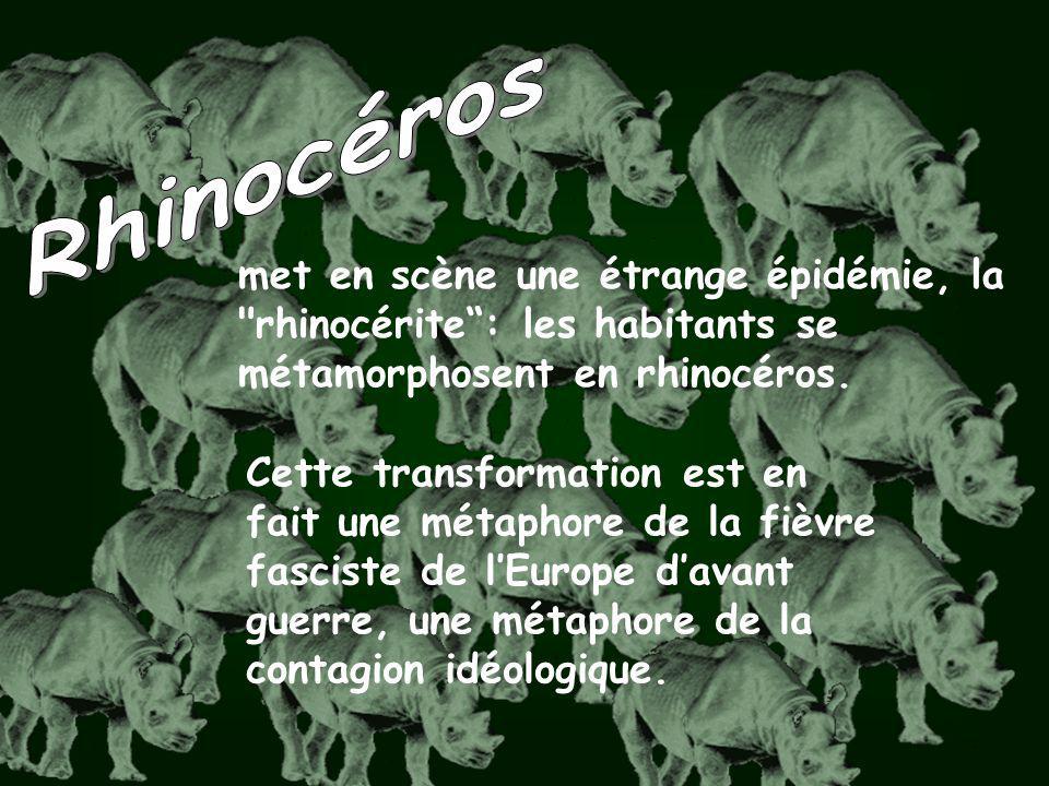 Rhinocéros met en scène une étrange épidémie, la rhinocérite : les habitants se métamorphosent en rhinocéros.