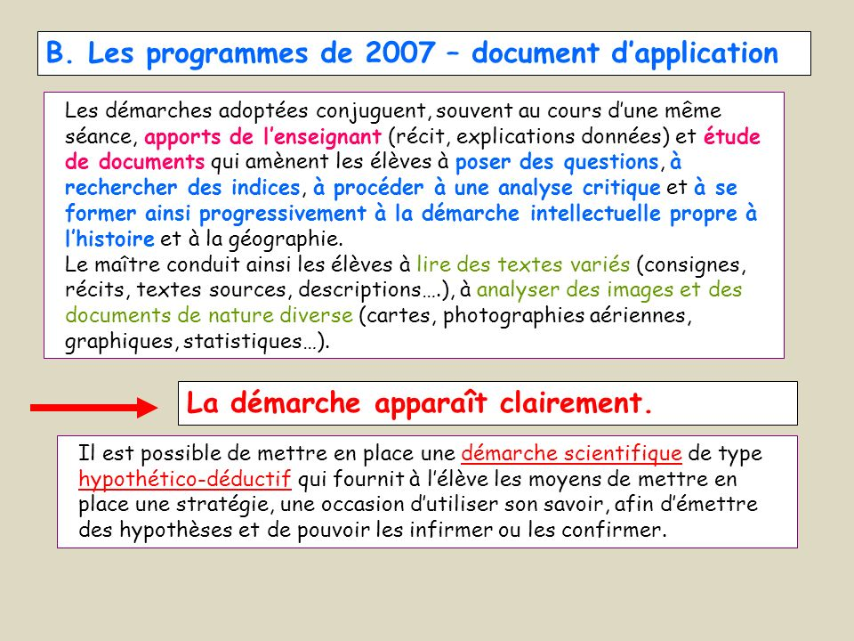 B. Les programmes de 2007 – document d'application
