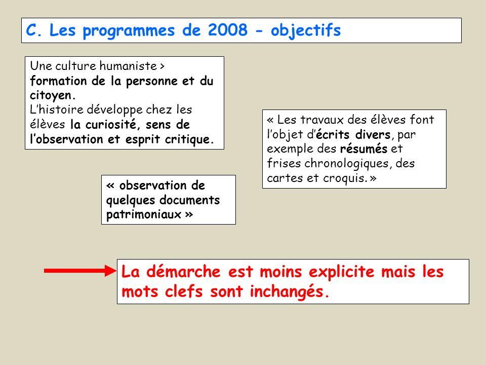 C. Les programmes de 2008 - objectifs