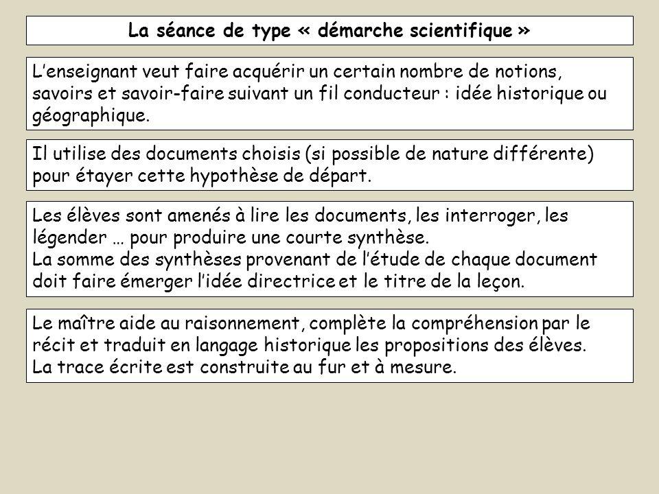 La séance de type « démarche scientifique »