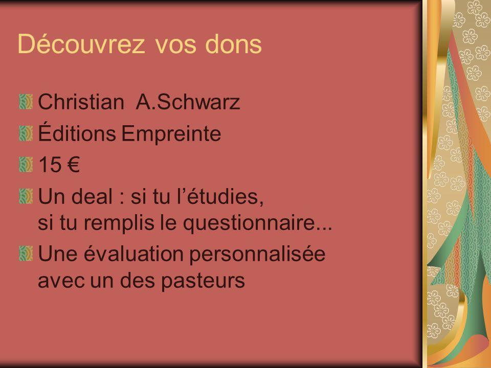 Découvrez vos dons Christian A.Schwarz Éditions Empreinte 15 €