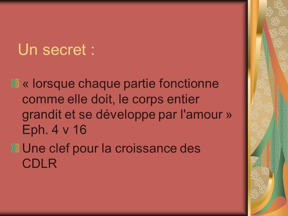 Un secret : « lorsque chaque partie fonctionne comme elle doit, le corps entier grandit et se développe par l amour » Eph. 4 v 16.