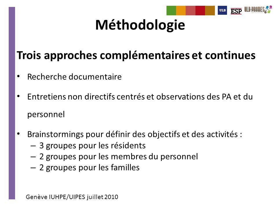 Méthodologie Trois approches complémentaires et continues