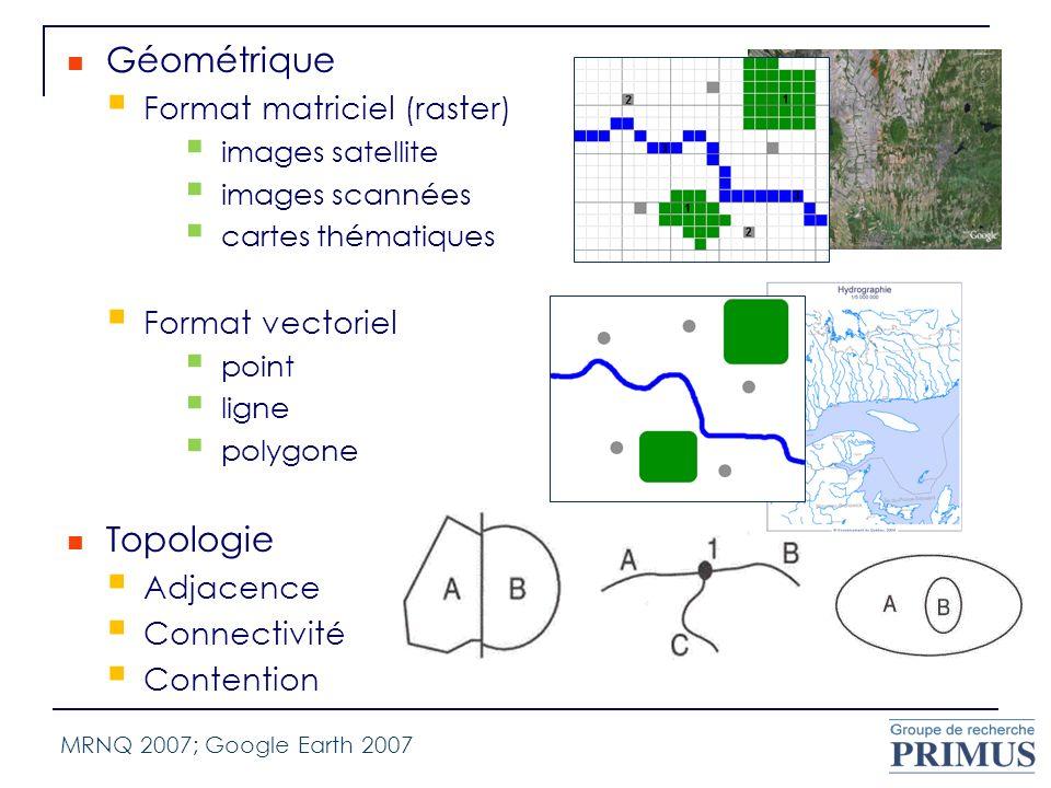 Géométrique Topologie Format matriciel (raster) Format vectoriel