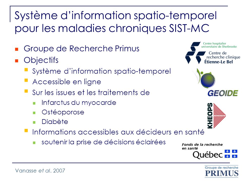 Système d'information spatio-temporel pour les maladies chroniques SIST-MC