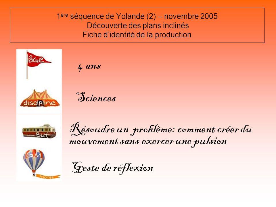 1ère séquence de Yolande (2) – novembre 2005 Découverte des plans inclinés Fiche d'identité de la production