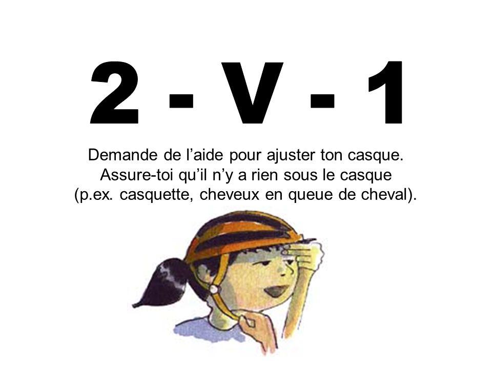 2 - V - 1 Demande de l'aide pour ajuster ton casque.