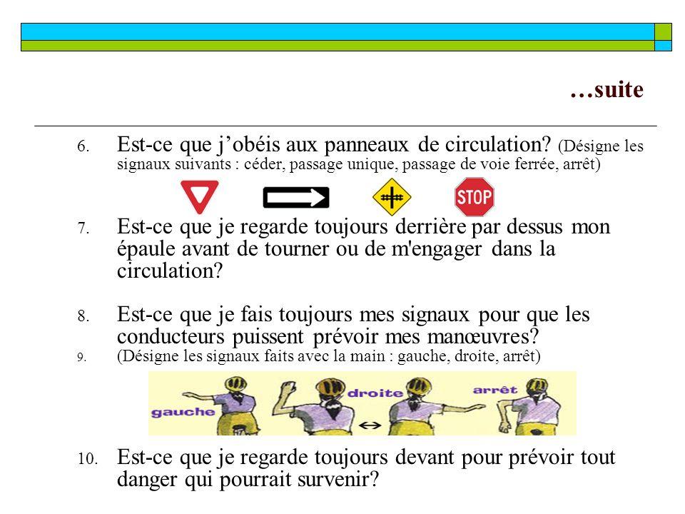 …suite Est-ce que j'obéis aux panneaux de circulation (Désigne les signaux suivants : céder, passage unique, passage de voie ferrée, arrêt)
