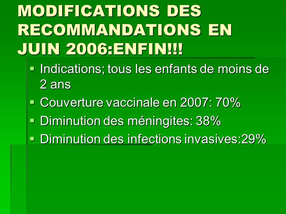 MODIFICATIONS DES RECOMMANDATIONS EN JUIN 2006:ENFIN!!!