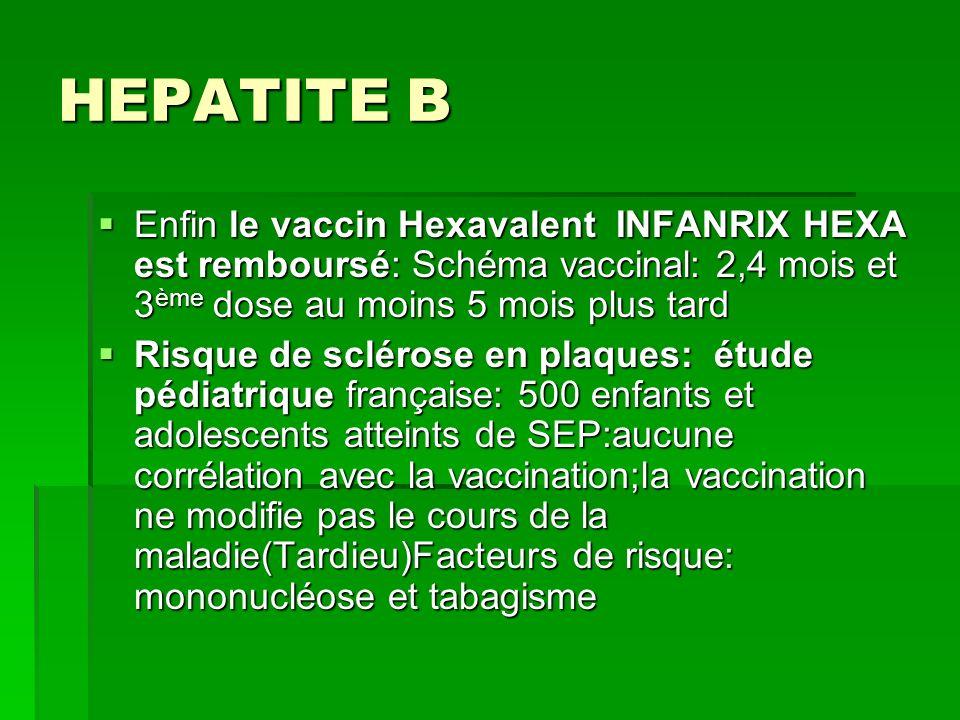 HEPATITE B Enfin le vaccin Hexavalent INFANRIX HEXA est remboursé: Schéma vaccinal: 2,4 mois et 3ème dose au moins 5 mois plus tard.