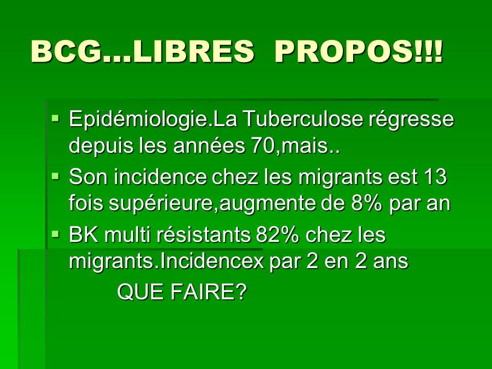 BCG…LIBRES PROPOS!!! Epidémiologie.La Tuberculose régresse depuis les années 70,mais..