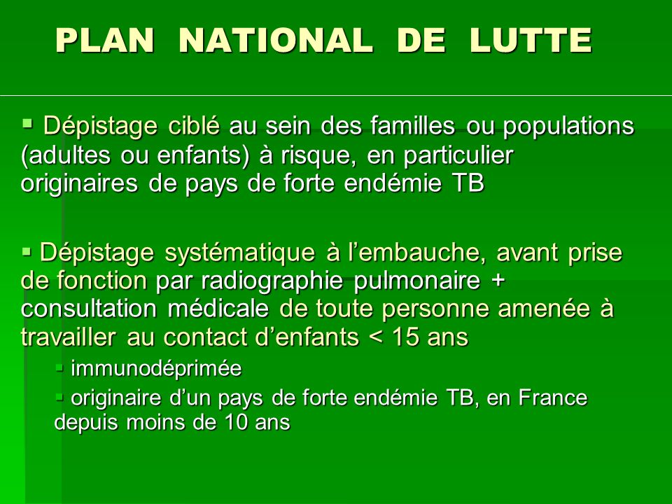 PLAN NATIONAL DE LUTTE